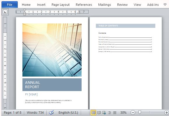 Annual Report Template Word | Annual Report Template With Cover Photo
