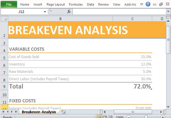 Breakeven Template. Screenshot Download Free Break Even Analysis