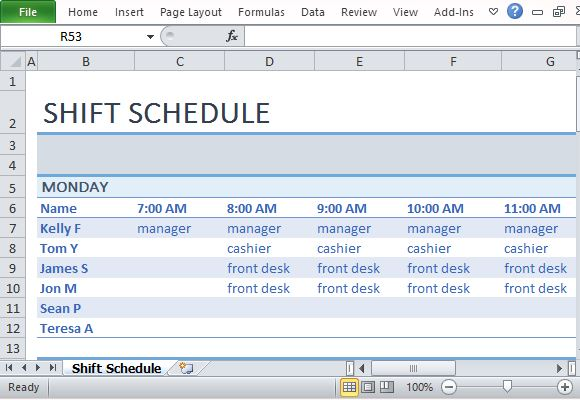creating a schedule in excel