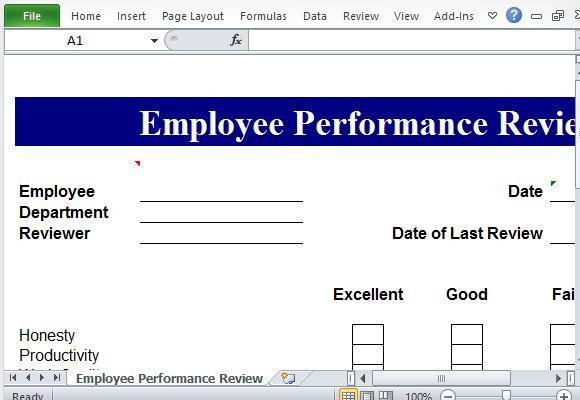 Free Office Templates  Performance Appraisals Templates