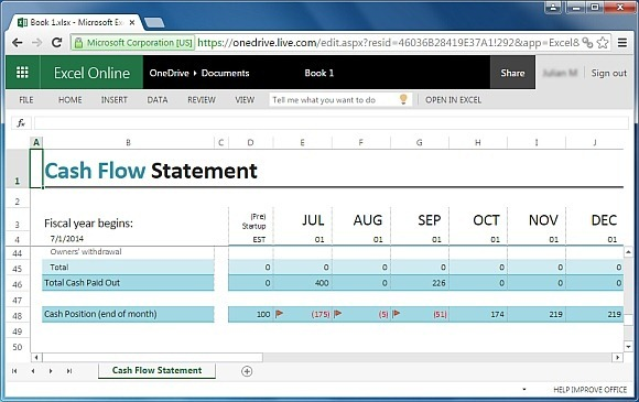 Statement Of Cash Flows Template Cash Flow Statement Office