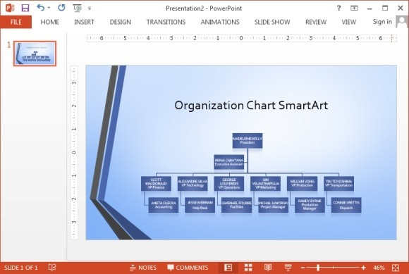 Widescreen Organizational Chart Smartart Powerpoint Template
