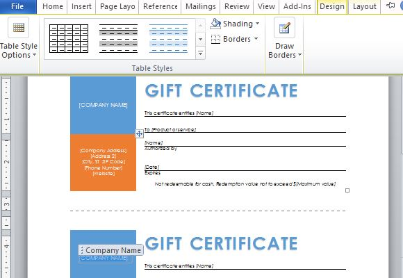 Free Word Template for Making Printable Gift Certificates – How to Create a Gift Certificate in Word