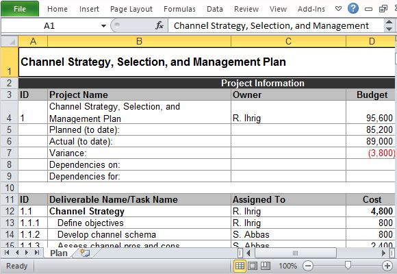 Channel marketing plan maker template for excel accmission Gallery