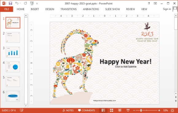 Chinese goat new year 2015 PowerPoint template