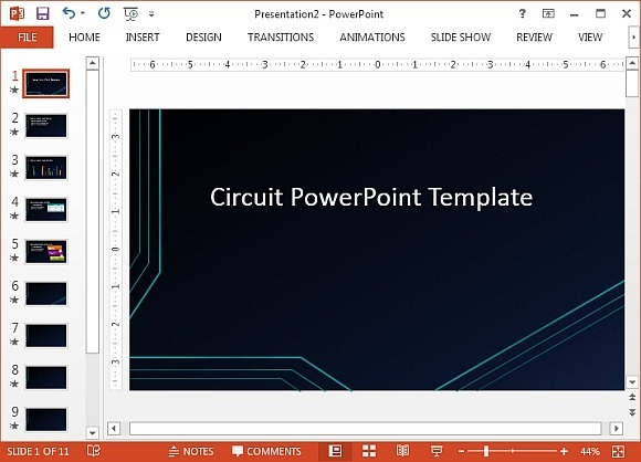 futuristic circuit template for powerpoint, Presentation templates