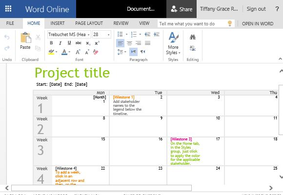 Project Timeline Calendar Template For Word - Simple project timeline template