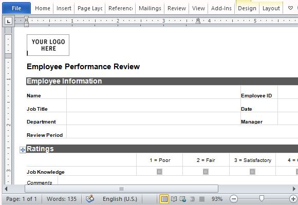 one page performance review template koni polycode co