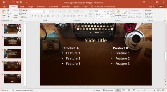 Comparison Slide with Typewriter Background