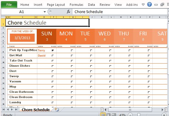 Weekly chore schedule organizer for excel for House chores checklist template