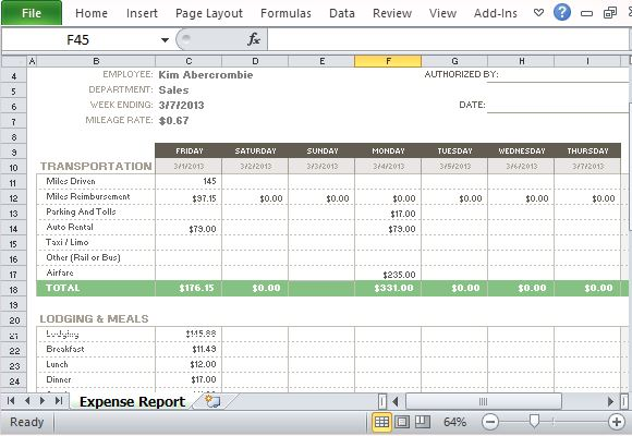 Free Expense Report Template For Excel .  Microsoft Office Expense Report Template