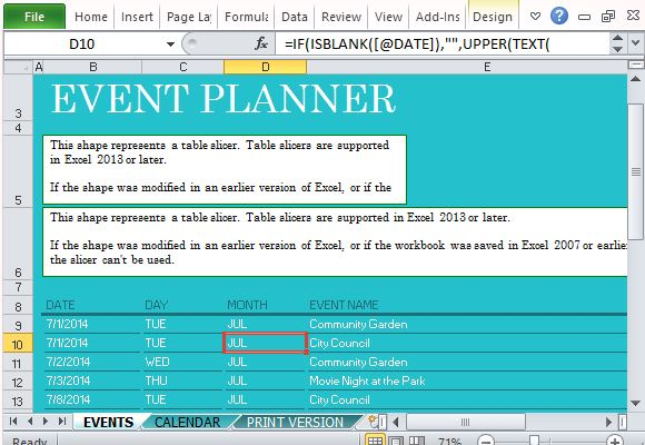 Free Office Templates  Events Planning Template