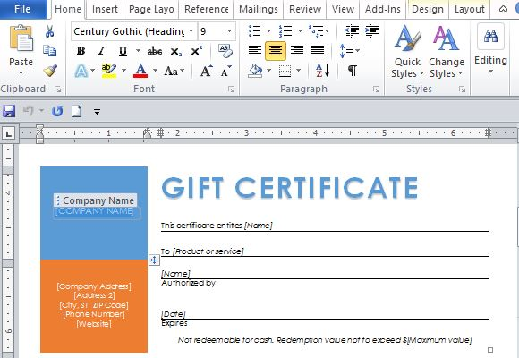Free Office Templates  Business Gift Certificate Template Free