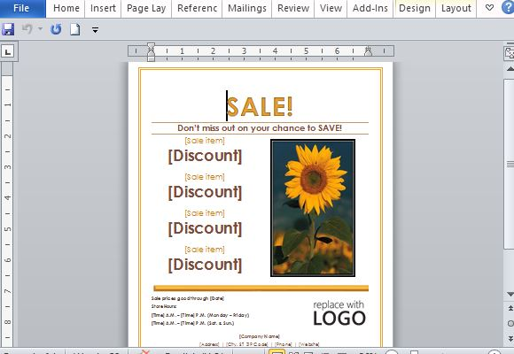 Sales flyer template for word for Design your office online