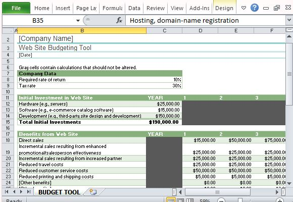 Website budget tracker template for excel Planner websites