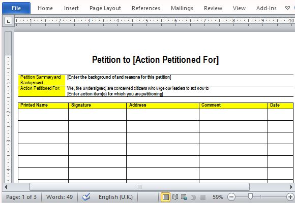 Free Petition Templates For Word