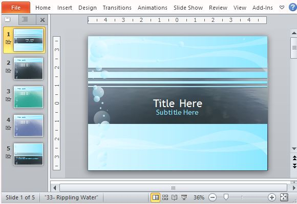 Rippling water powerpoint template toneelgroepblik Gallery