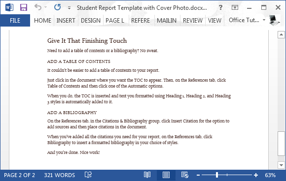 Free Student Report Word Template – Student Report Template Word