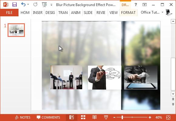 Drag to slide blur background