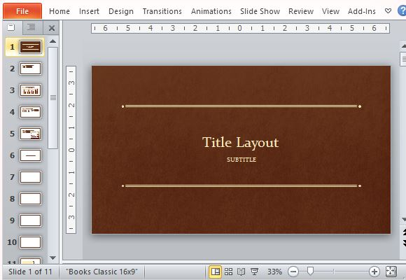 Book Cover Template Powerpoint : Classic book powerpoint template