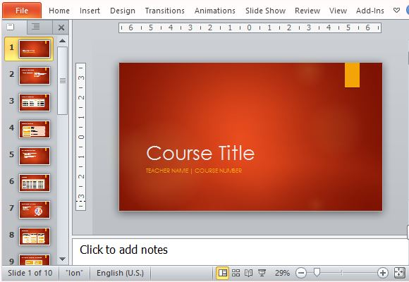 academic course template for powerpoint