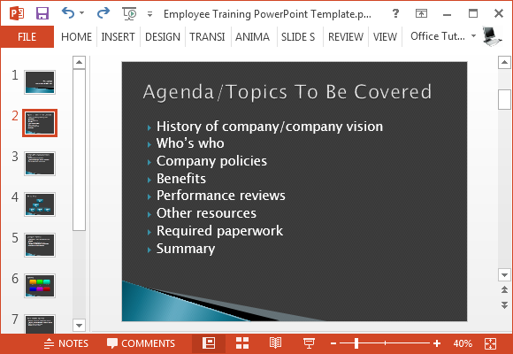 Employee training PowerPoint template with agenda slide