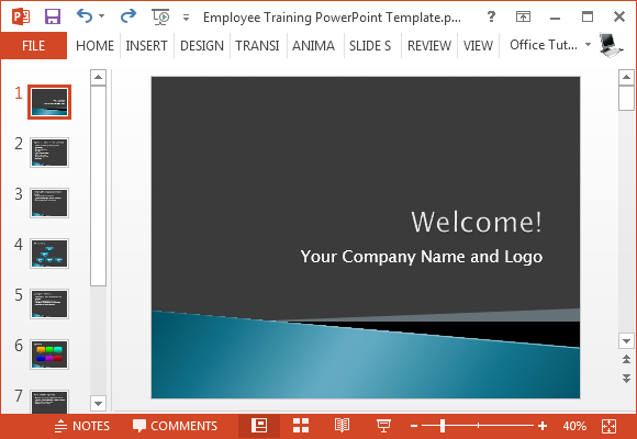 Free employee training presentation template for powerpoint for Orientation powerpoint presentation template