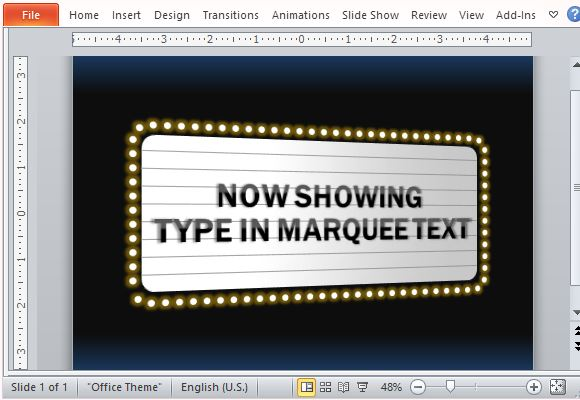 Movie theater sign powerpoint template toneelgroepblik