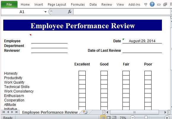 Performance Review Template for Microsoft Excel – Performance Review Format