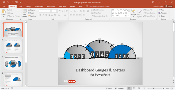 Free Gauges Dashboard PowerPoint Template