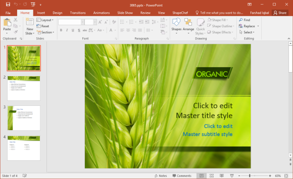 Free Organic Wheat PowerPoint Template