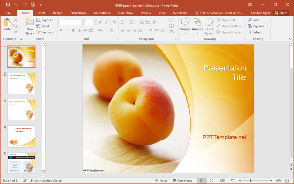 Free Peach PowerPoint Template