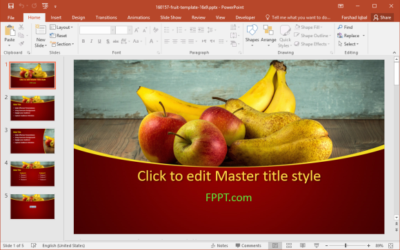 Free Table with Fruits PowerPoint Template