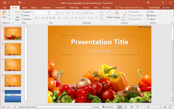 Free Vegetables powerPoint Template