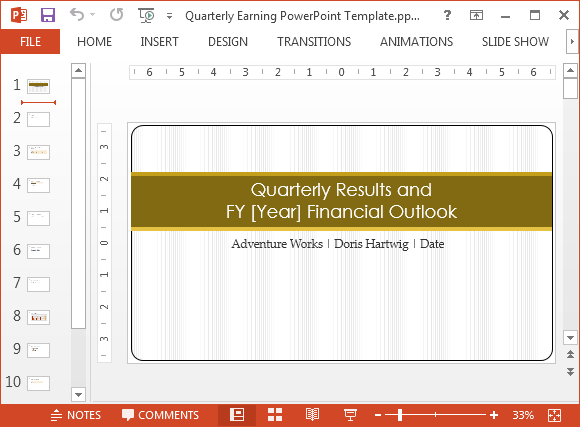 Free Quarterly Earnings Report Template for PowerPoint
