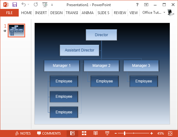 Free animated organizational chart template for powerpoint for Power point org chart template