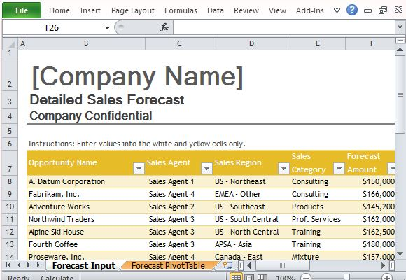 Forecast Template for Excel