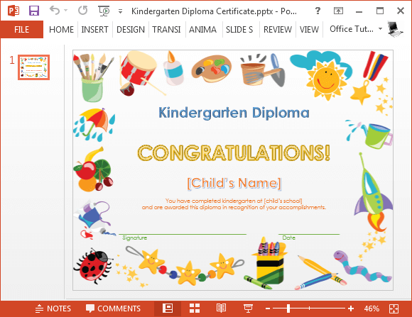 printable kindergarten diploma template for powerpoint, Modern powerpoint