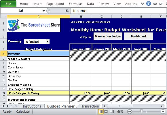 monthly family income tracker template for excel