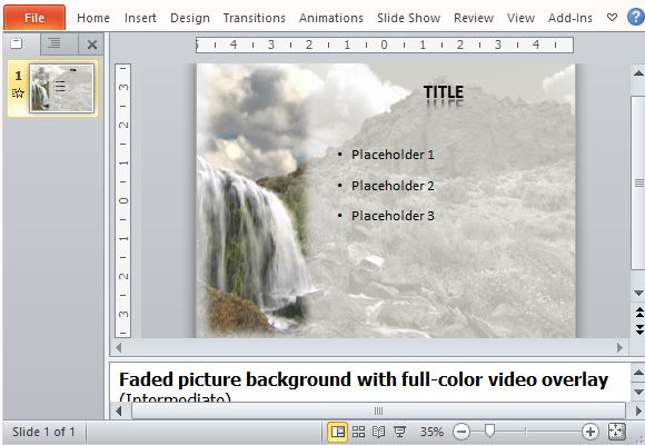 animated waterfall powerpoint template nature inspired slide for tourism and other topics