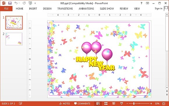 New Year butterflies PowerPoint template
