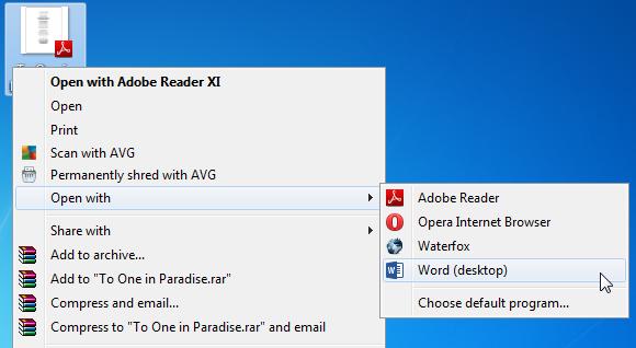 Open PDF reflow in Word 2013