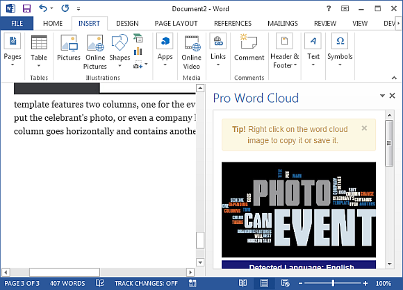 how to automatically generate word clouds in ms word