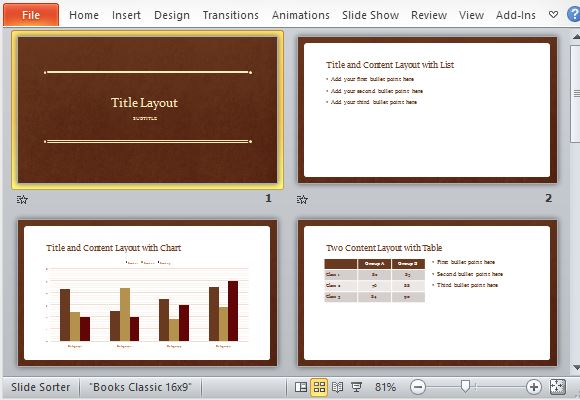 Classic book powerpoint template for Professional looking powerpoint templates