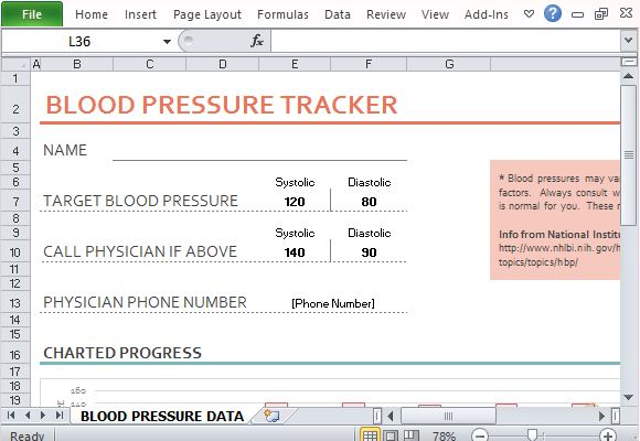 blood pressure and heart rate tracker template for excel