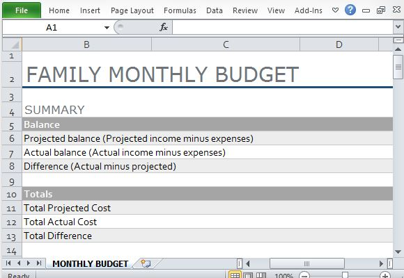 Monthly Family Budget Template for Excel – Family Budget Template
