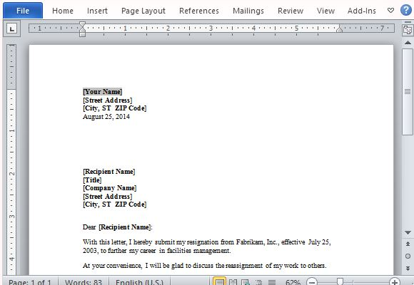 Free Resignation Letter Template For Word