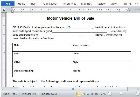 motor vehicle bill of sale template for word. Black Bedroom Furniture Sets. Home Design Ideas