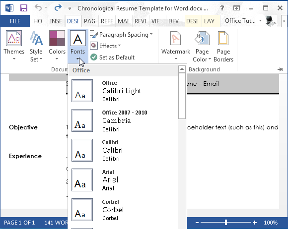 word 2013 resume tunnelvisie