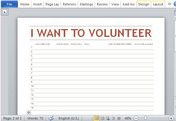 Volunteer List Template for Word